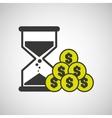 Sand clock money coin icon design