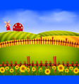 scenery beautiful farm with red barn and flower vector image