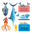 seafood flat style colorful cartoon vector image vector image