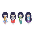 set cute little dark-haired girls with kittens vector image vector image