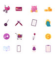 set icons baby stroller credit card and piggy vector image
