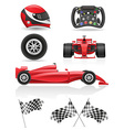 set racing icons vector image
