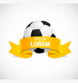 Soccer ball with orange ribbon vector image vector image