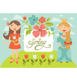spring girls vector image
