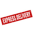 square grunge red express delivery stamp vector image vector image