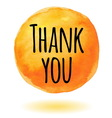 Thank you card with orange watercolor circle vector image