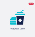 two color hamburguer drink icon from food vector image vector image