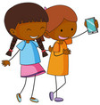 two girls cartoon character taking a selfie vector image