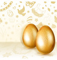 two golden easter eggs vector image vector image