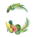 watercolor wreath tropical leaves and vector image vector image