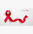 world aids day red color ribbon isolated on vector image