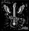 rock n roll guitar and wings vector image
