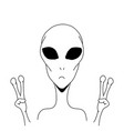 alien is showing a sign of peace vector image vector image