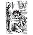 Alphabet m mourned for it vintage vector image
