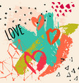 art background with watercolor hearts rough brush vector image vector image