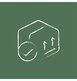 Box with two arrows icon drawn in chalk vector image vector image