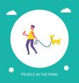 boy walking dog on leash in park cartoon banner vector image vector image