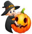 cartoon little witch with a pumpkin vector image vector image
