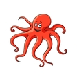 Cartoon red ocean octopus character vector image vector image