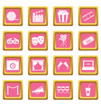 cinema icons pink vector image vector image