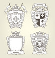 coat arms and blazons - heraldic shields vector image vector image