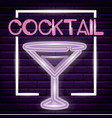 cocktail neon light label vector image