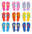 colorful flip flops in various patterns vector image