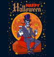 count dracula vampire sitting on the coffin on vector image