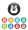 cute bear backpack icons set color vector image vector image