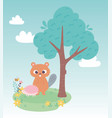 cute little beaver and hedgehog on grass vector image vector image