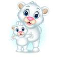 cute polar bear with her son vector image vector image