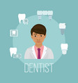 dentist doctor asian face with tooth care icons vector image