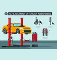 flat banner replacement of shock absorbers vector image vector image