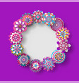 floral decoration rounded shape frame banner vector image