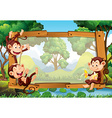 Frame design with monkeys in forest vector image vector image