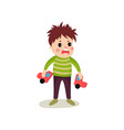 frustrated kid boy flat character holding broken vector image vector image
