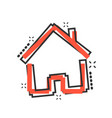 house building icon in comic style home apartment vector image