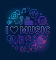 i love music circular colored vector image vector image
