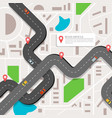 infographic with a winding road a city map with a vector image