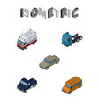isometric transport set of first-aid suv truck vector image vector image