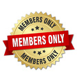 members only 3d gold badge with red ribbon vector image