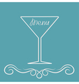 Menu cover design with martini glass calligraphic vector image