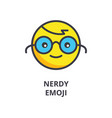 nerdy emoji line icon sign vector image