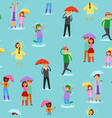 people in rain seamless pattern vector image