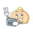 photographer chickpeas mascot cartoon style vector image vector image