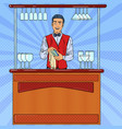 pop art smiling bartender wiping glass in bar vector image vector image
