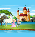 scene with knight and princess castle vector image vector image