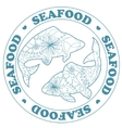 Seafood stamp with fish vector image vector image