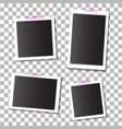 set empty template photo frames with adhesive vector image vector image