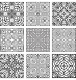 Set of black and white geometric seamless patterns vector image vector image